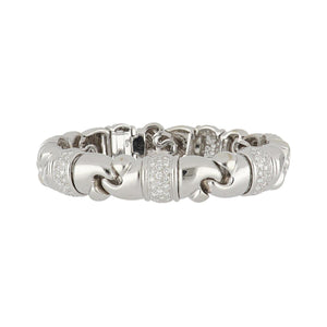 Estate 18K White Gold Bracelet with Pavé Diamond Stations