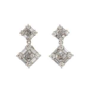 Estate 18K White Gold Square Invisibly-Set Diamond Drop Earrings