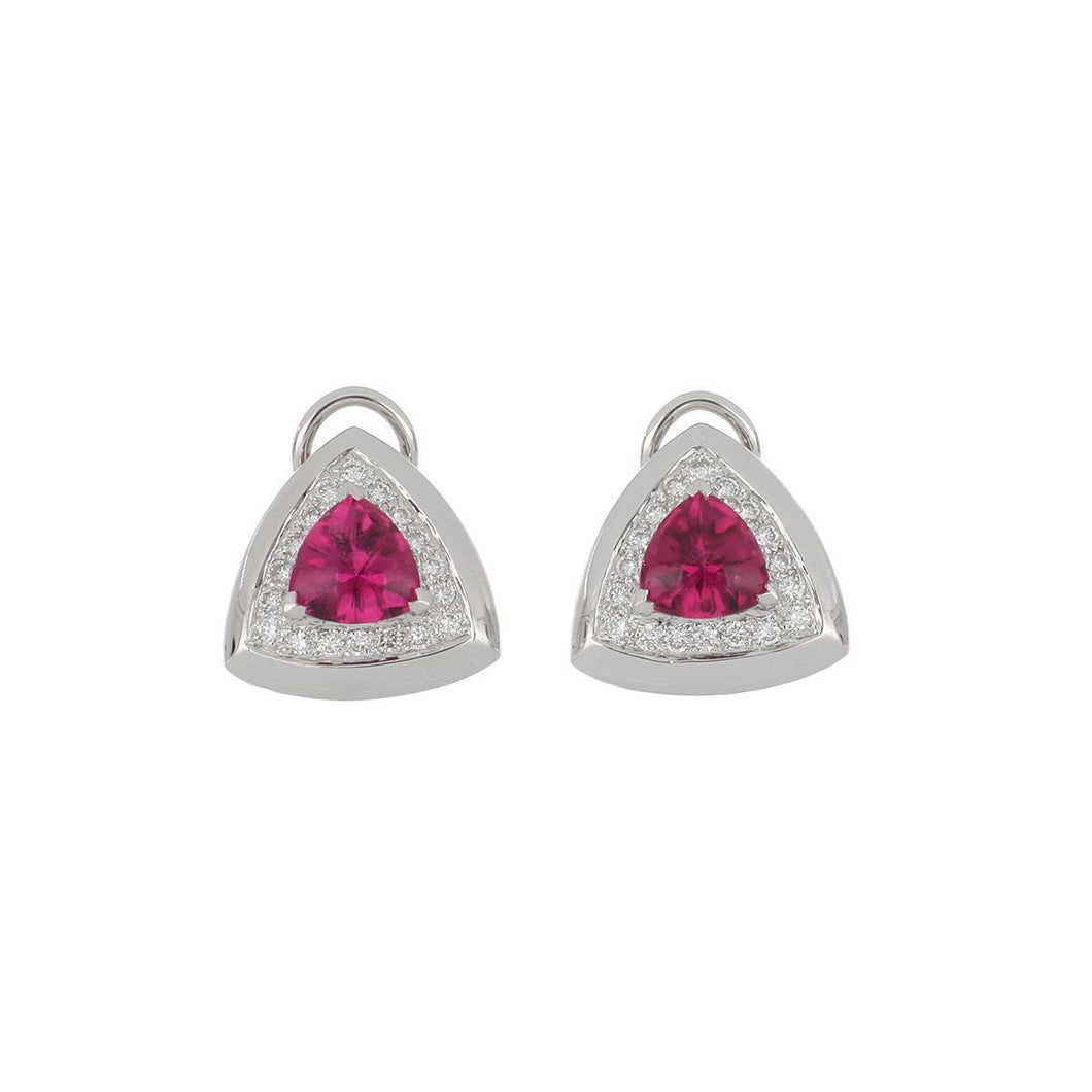 Estate 18K White Gold Buff Top Cabochon Pink Tourmaline and Diamond Earrings