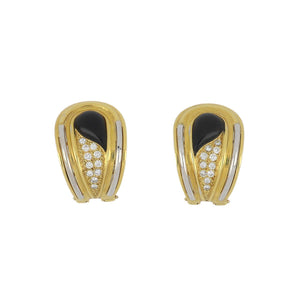 Estate 18K Two-Tone Gold Tear Drop Onyx and Pavé Diamond Earrings