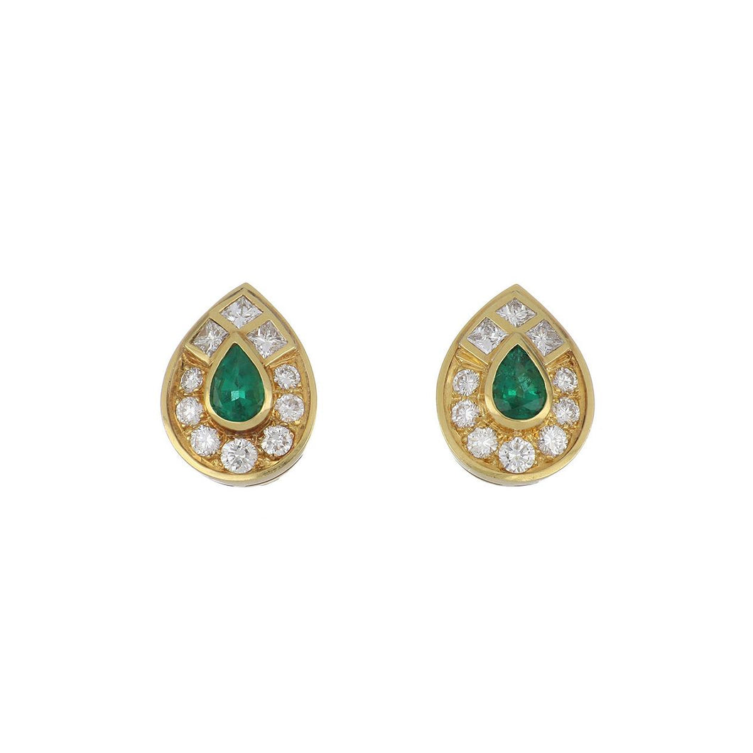 Estate 18K Gold Tear Drop Shape Emerald and Diamond Earrings