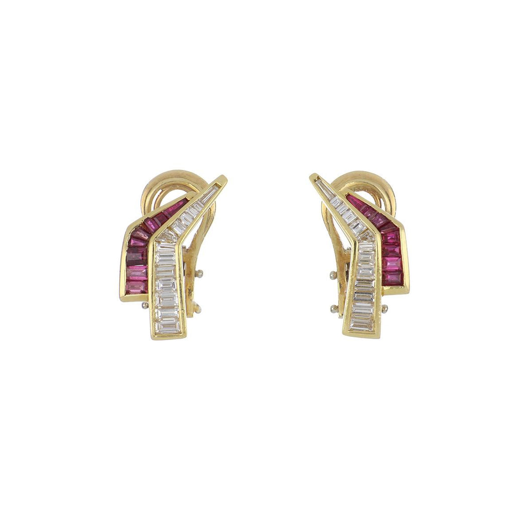 Estate 18K Gold Angular Ruby and Diamond Earrings