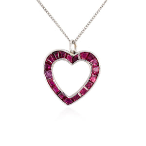 Estate Platinum Ruby Heart Pendant