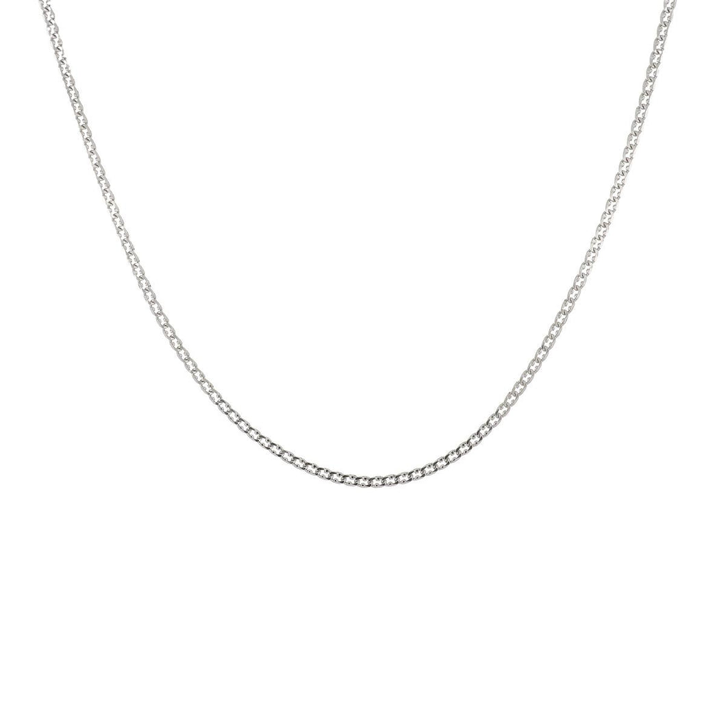 18K White Gold Fancy Curb Link Chain