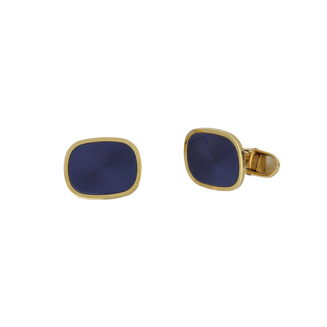Estate ABL 18K Gold Blue Cufflinks