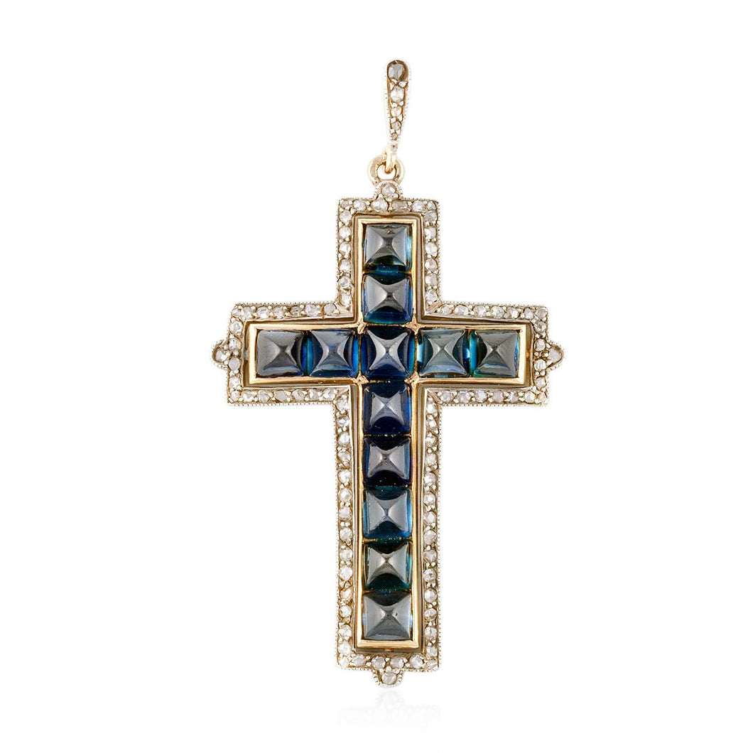 18K Gold and Sterling Silver Sapphire Cross Pendant