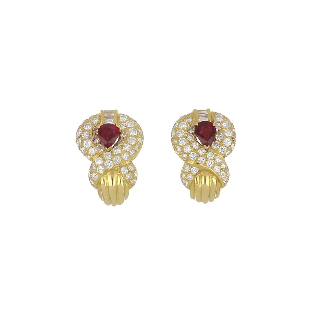 18K Gold Pear Shape Ruby and Diamond Earrings