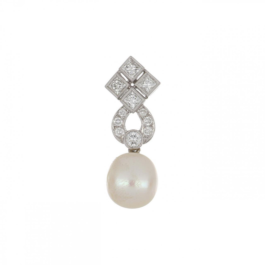 18K White Gold Diamond and South Sea Pearl Pendant