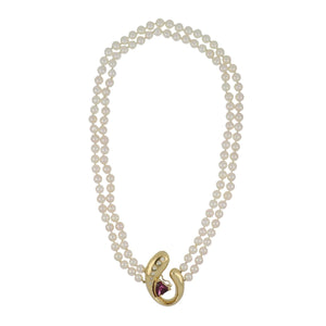 Estate 18K Gold Double Strand Akoya Pearl Collar Necklace with Garnet and Diamond Clasp