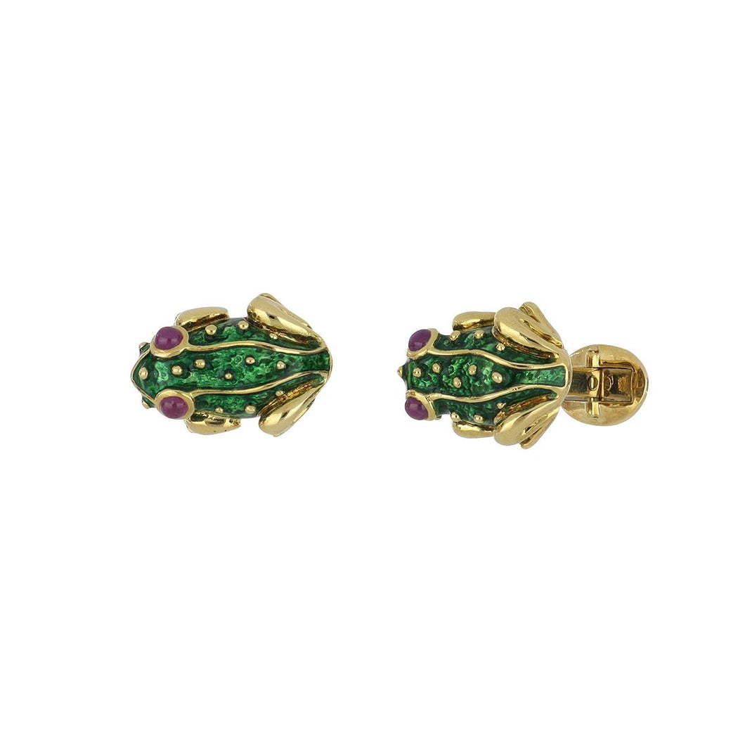 Estate 18K Gold Green Enamel Frog Cufflinks with Ruby Eyes