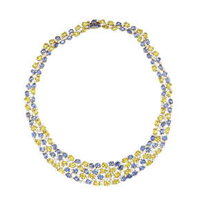 Estate 18K Gold Blue and Yellow Sapphire Cobblestone Necklace with Diamonds