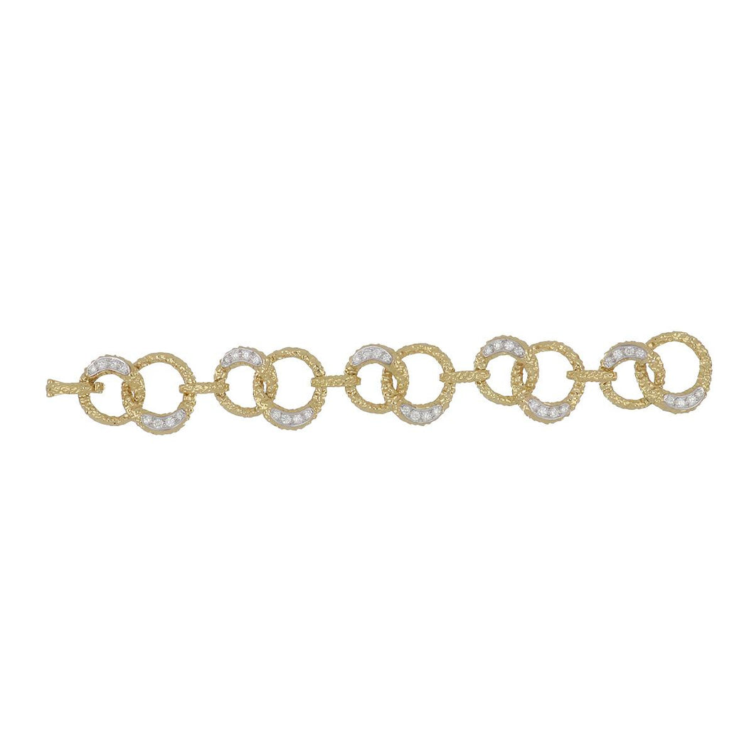 Estate 18K Gold and Platinum Diamond Link Bracelet
