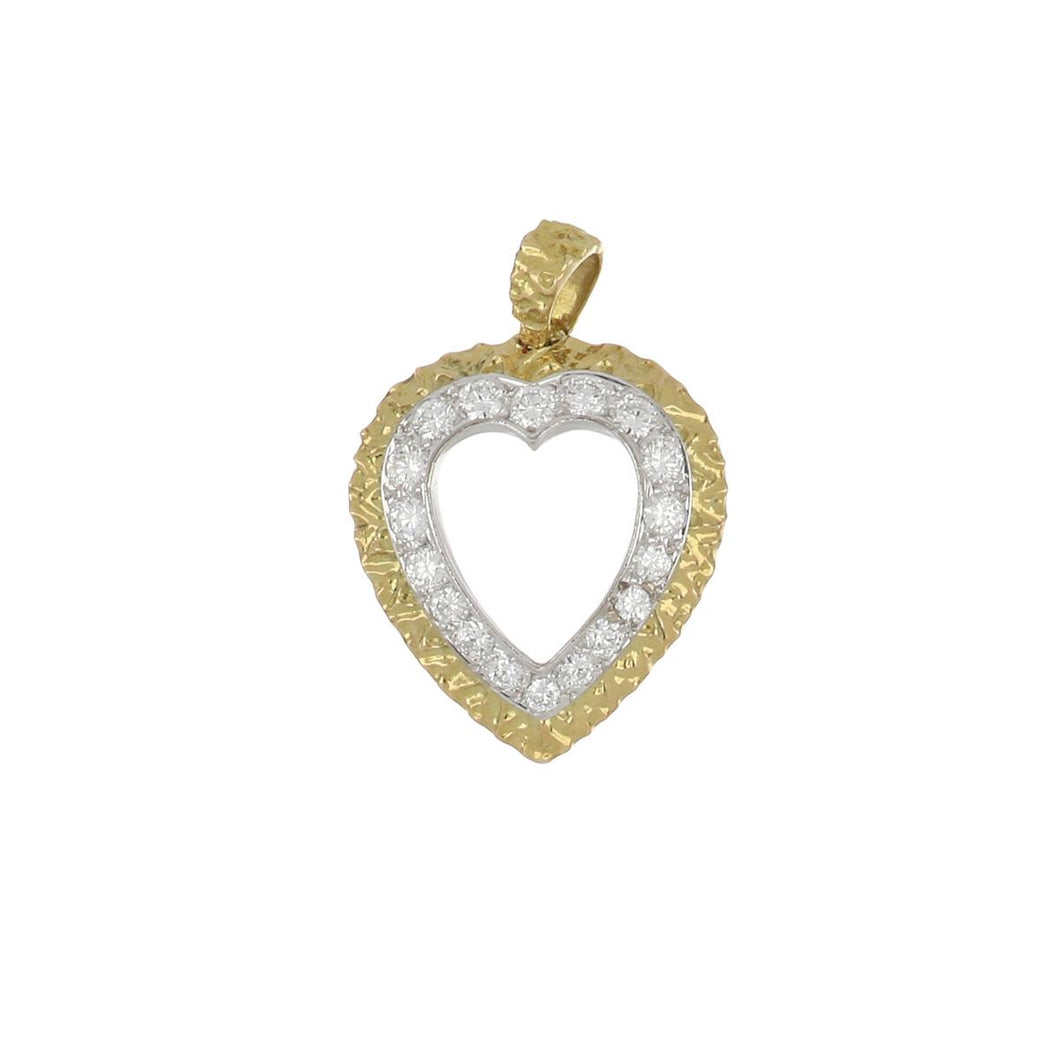 Estate 18K Gold Open Heart Pendant with Diamonds