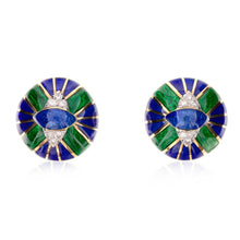 Load image into Gallery viewer, Estate  David Webb 18K Gold Enamel And Diamond Earrings
