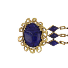 Load image into Gallery viewer, Antique Egyptian Revival 14K Gold Lapis Scarab Bracelet
