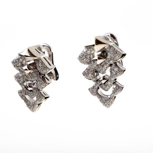 Estate Bulgari 18K White Gold Diamond Earrings