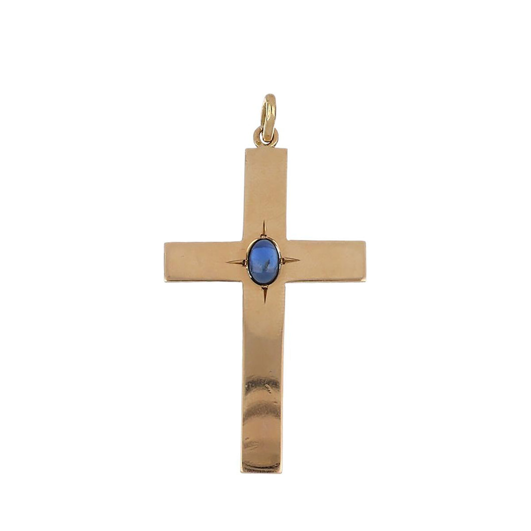 Estate 14K Gold Cross Pendant with Cabochon Sapphire