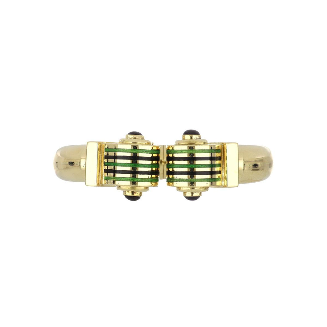 Estate 18K Gold Green and Black Enamel Hinged Bracelet with Amethyst