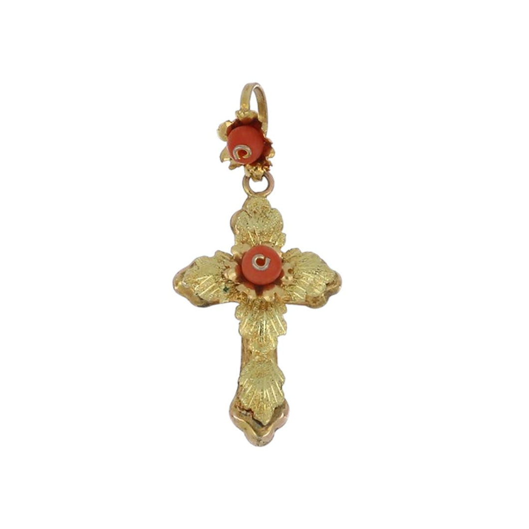 Estate 14K Gold Cross Pendant with Coral Beads