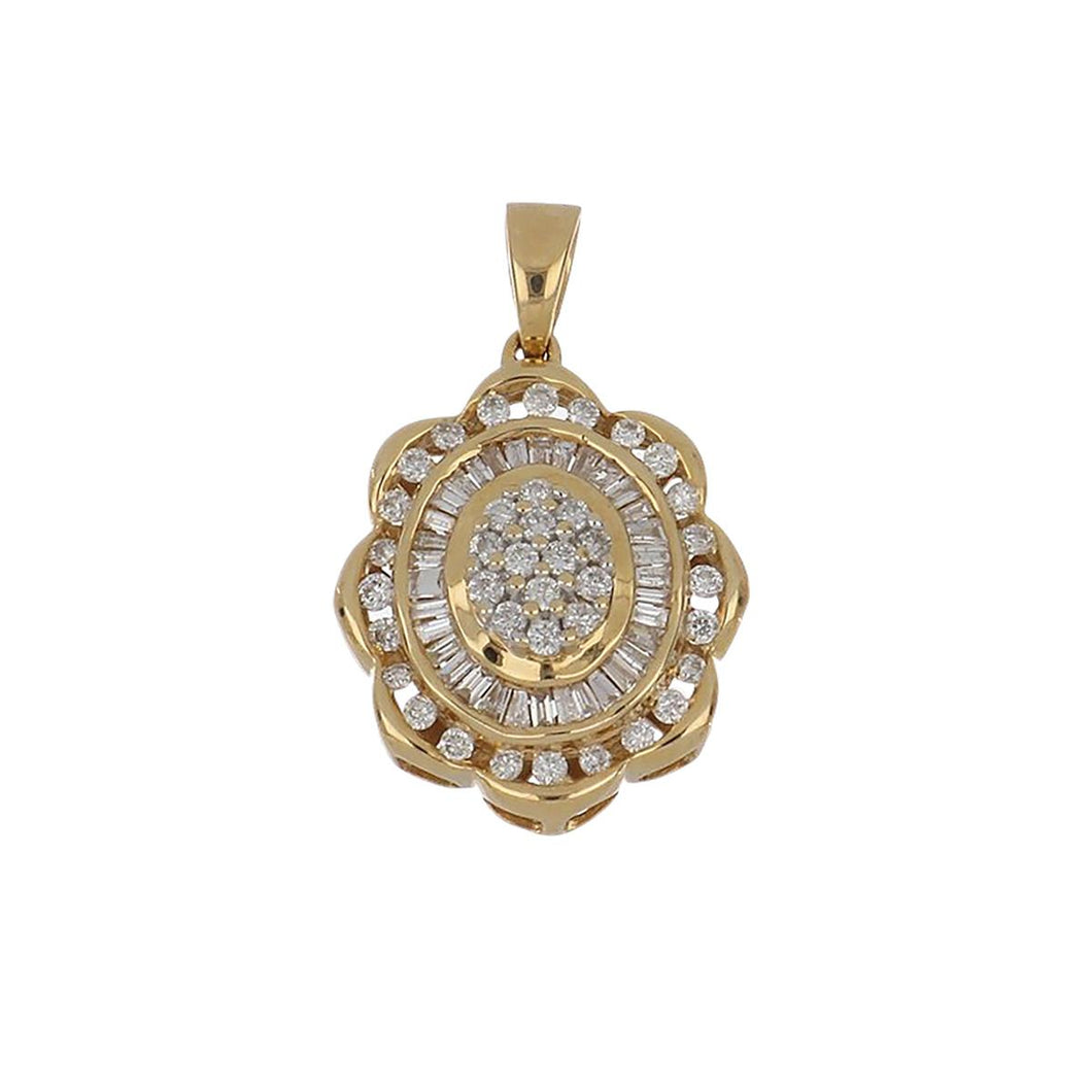 Estate 10K Gold Baguette and Round Diamond Pendant