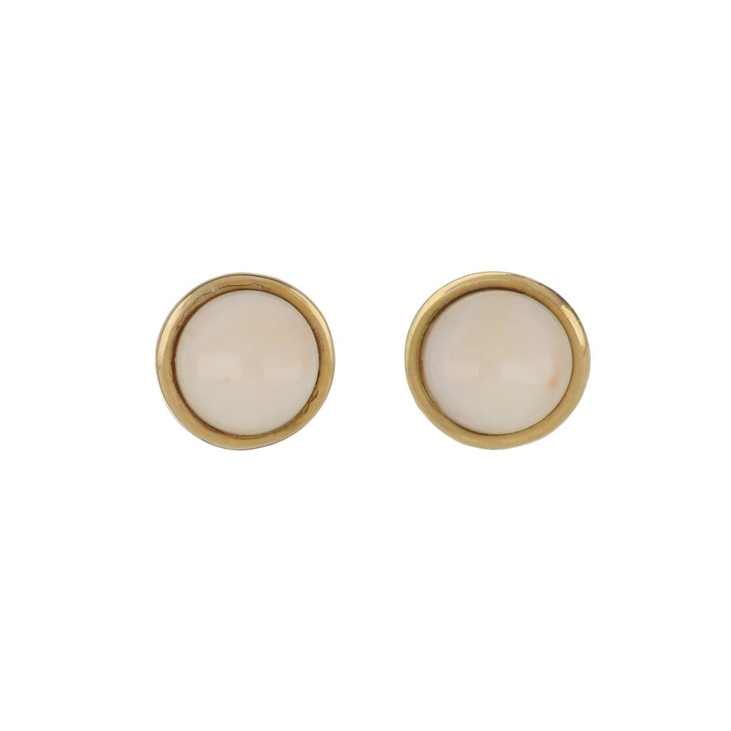 Estate 14K Gold Angel Skin Coral Button Earrings