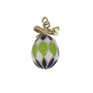Estate 14K Gold Enameled Egg Charm with Bow