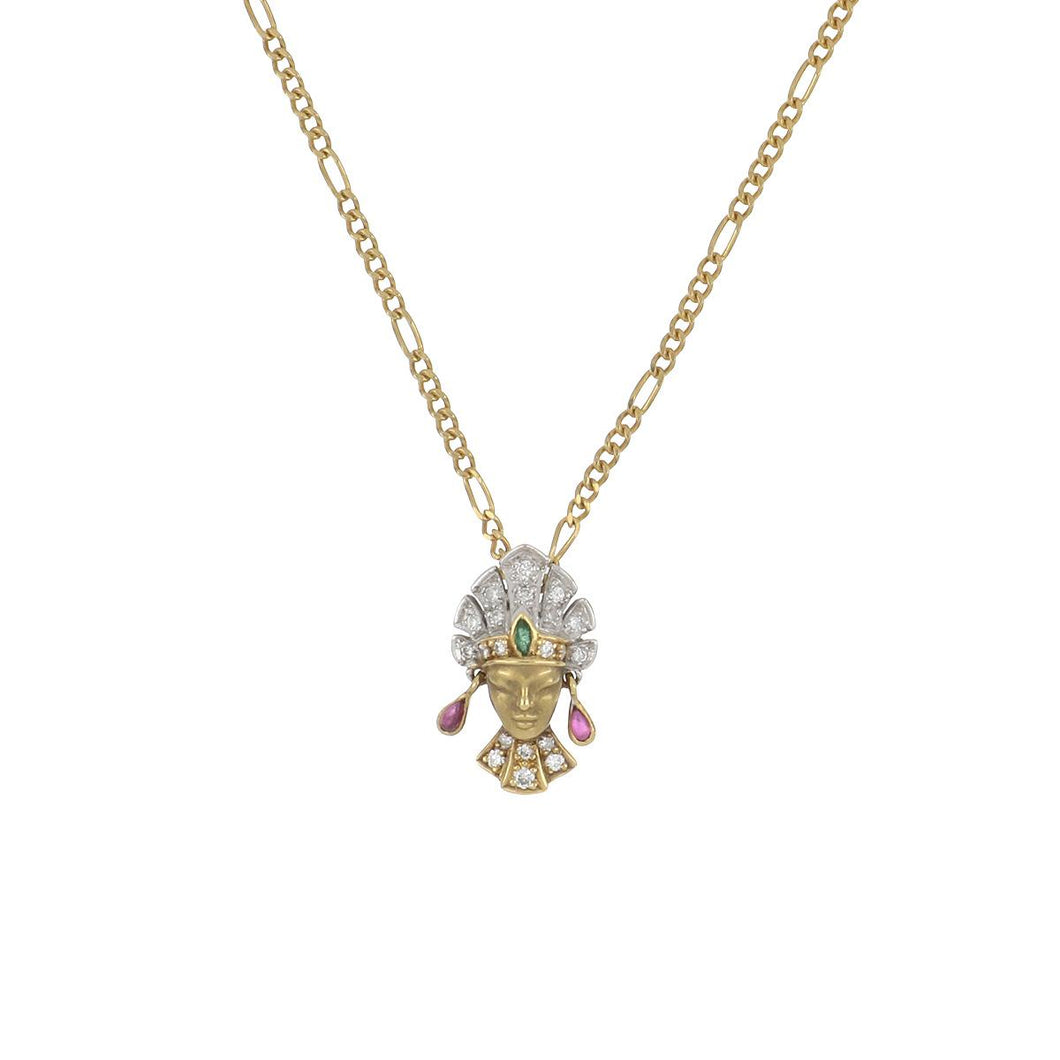 Estate Carrera Y Carrera 18K Two Tone Gold Lady with Head Dress Pendant Necklace