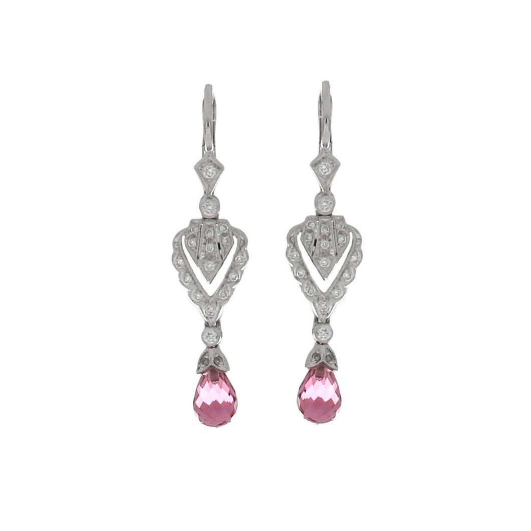 18K White Gold Art Deco Inspired Drop Earrings with Diamonds and Pink Tourmaline