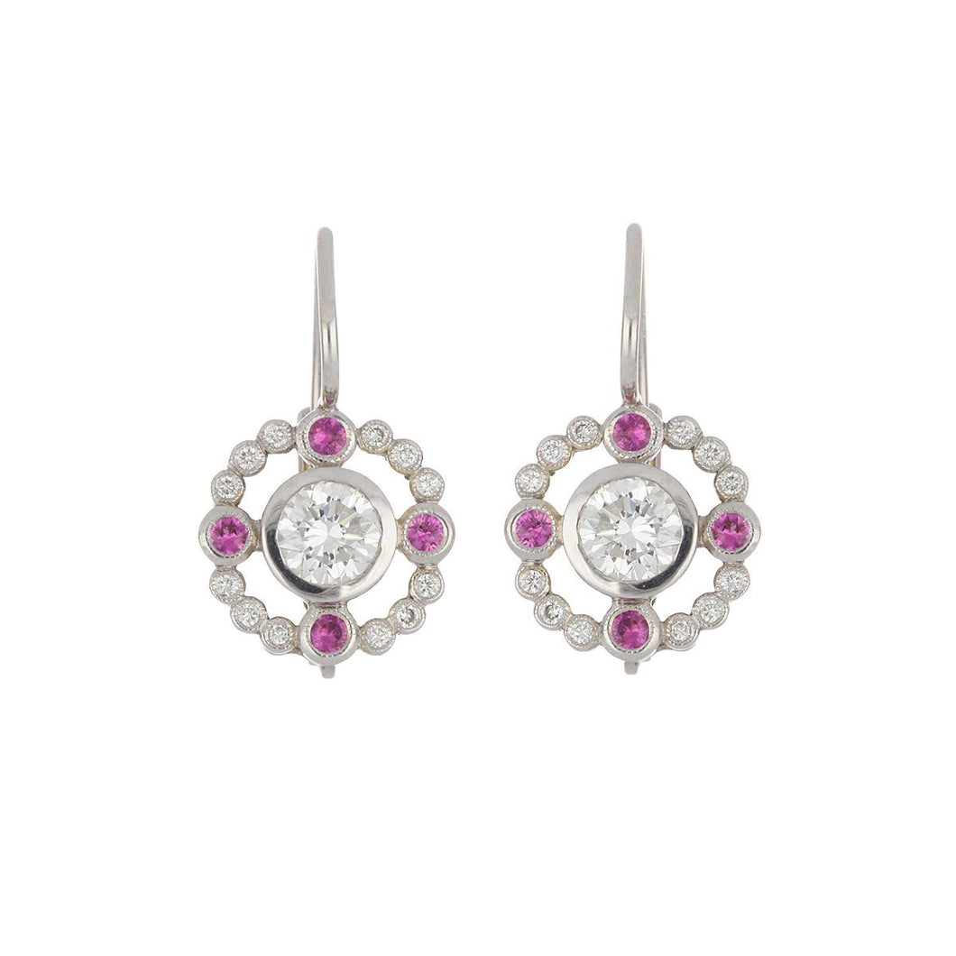 18K White Gold Openwork Diamond Earrings with Pink Sapphires