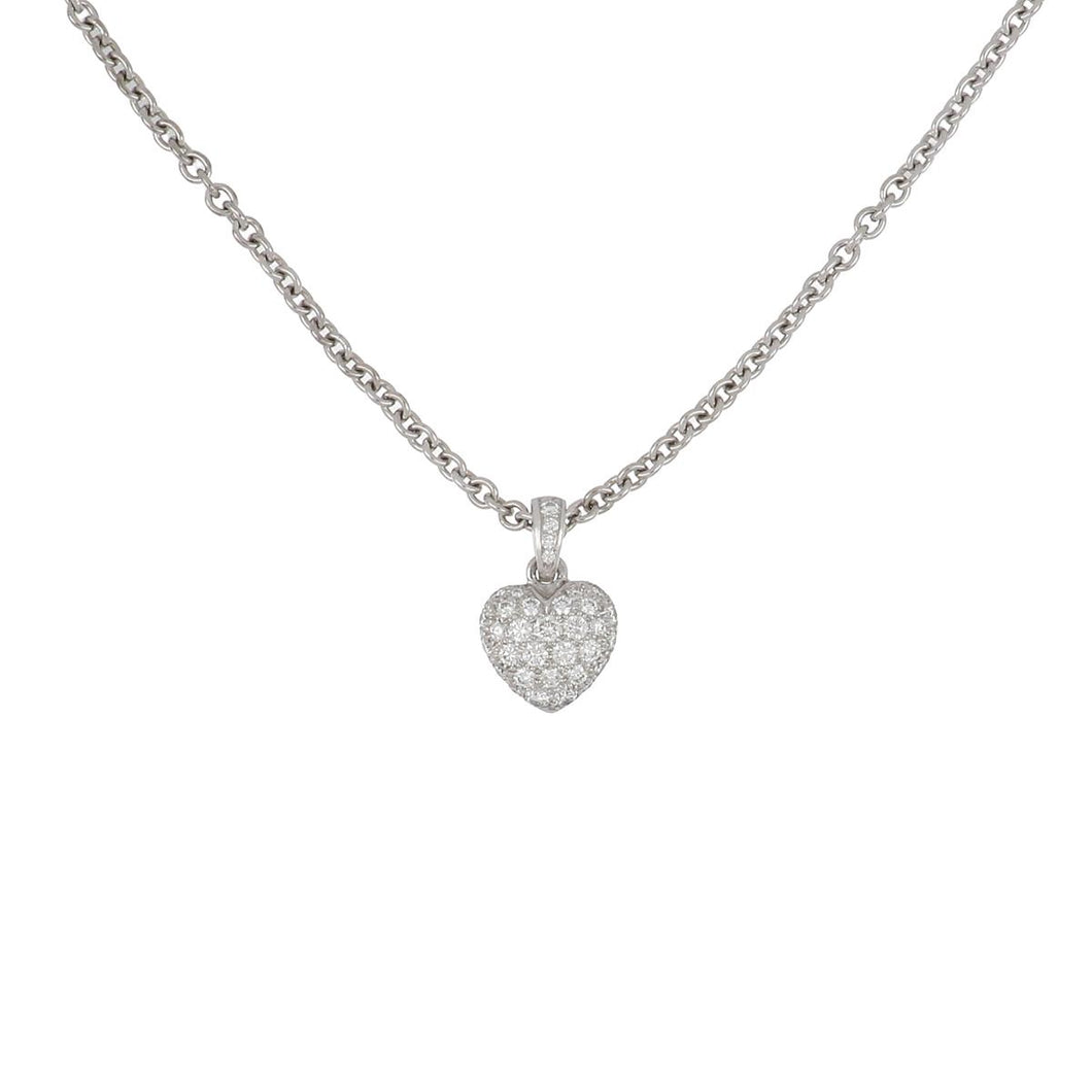 Estate Cartier 18K White Gold Diamond Heart Pendant