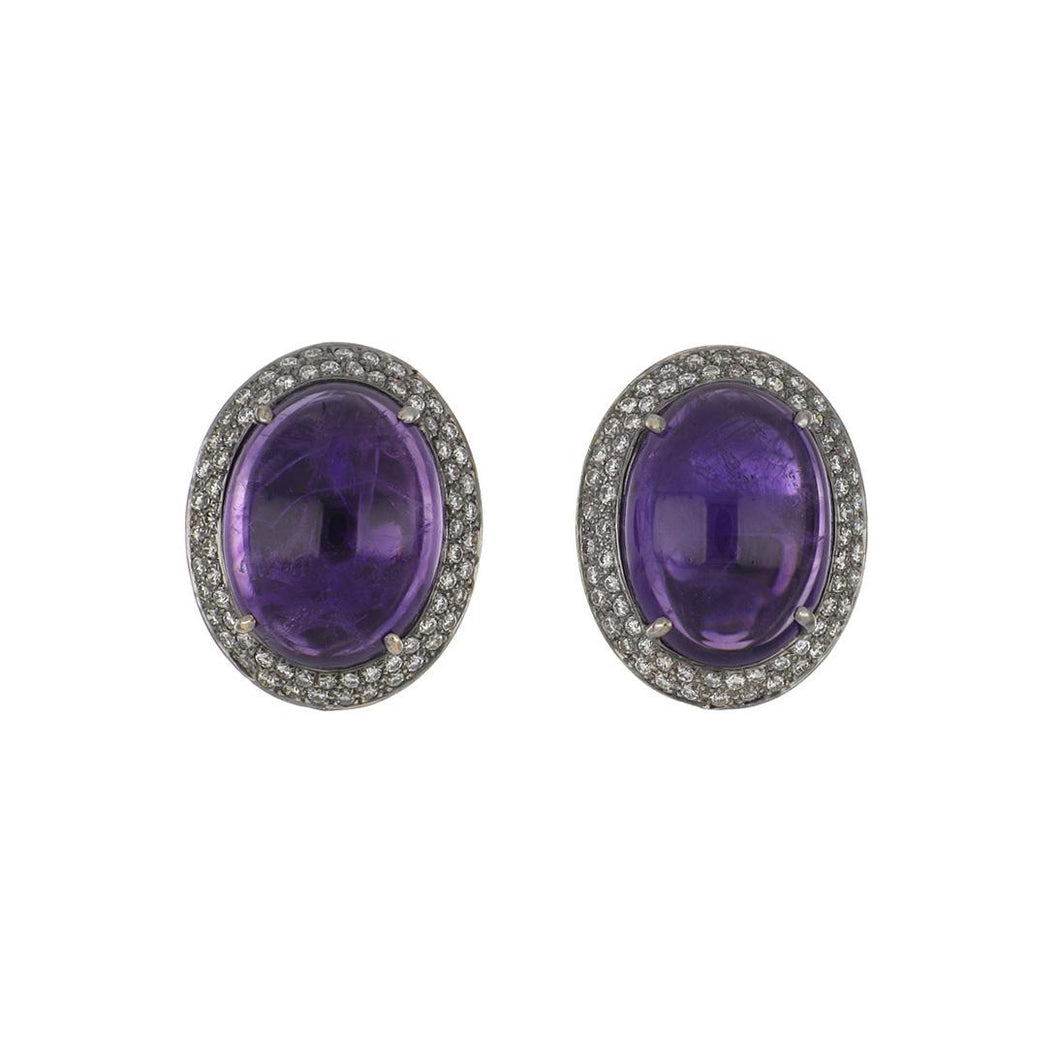 Estate 18K White Gold Cabochon Amethyst and Diamond Button Earrings