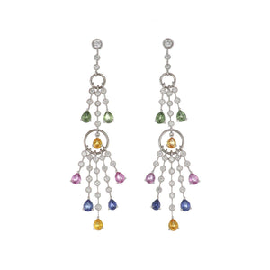 18K White Gold Multi-Color Sapphire and Diamond Tassel Drop Earrings