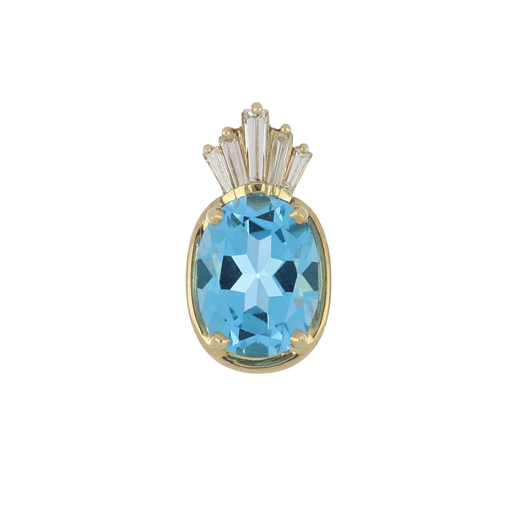 Estate 14K Gold Blue Topaz and Diamond Pendant