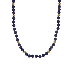 Estate 14K Gold and Lapis Bead Necklace