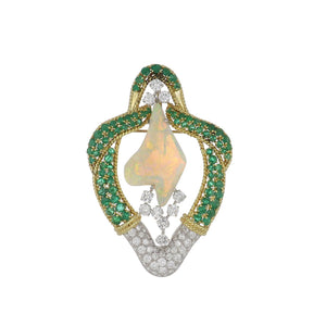 Estate 18K Gold and Platinum White Opal Brooch with Emeralds and Diamonds