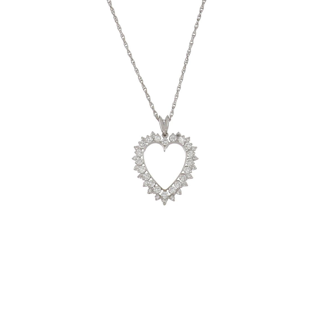 Estate 14K White Gold Diamond Heart Pendant Necklace