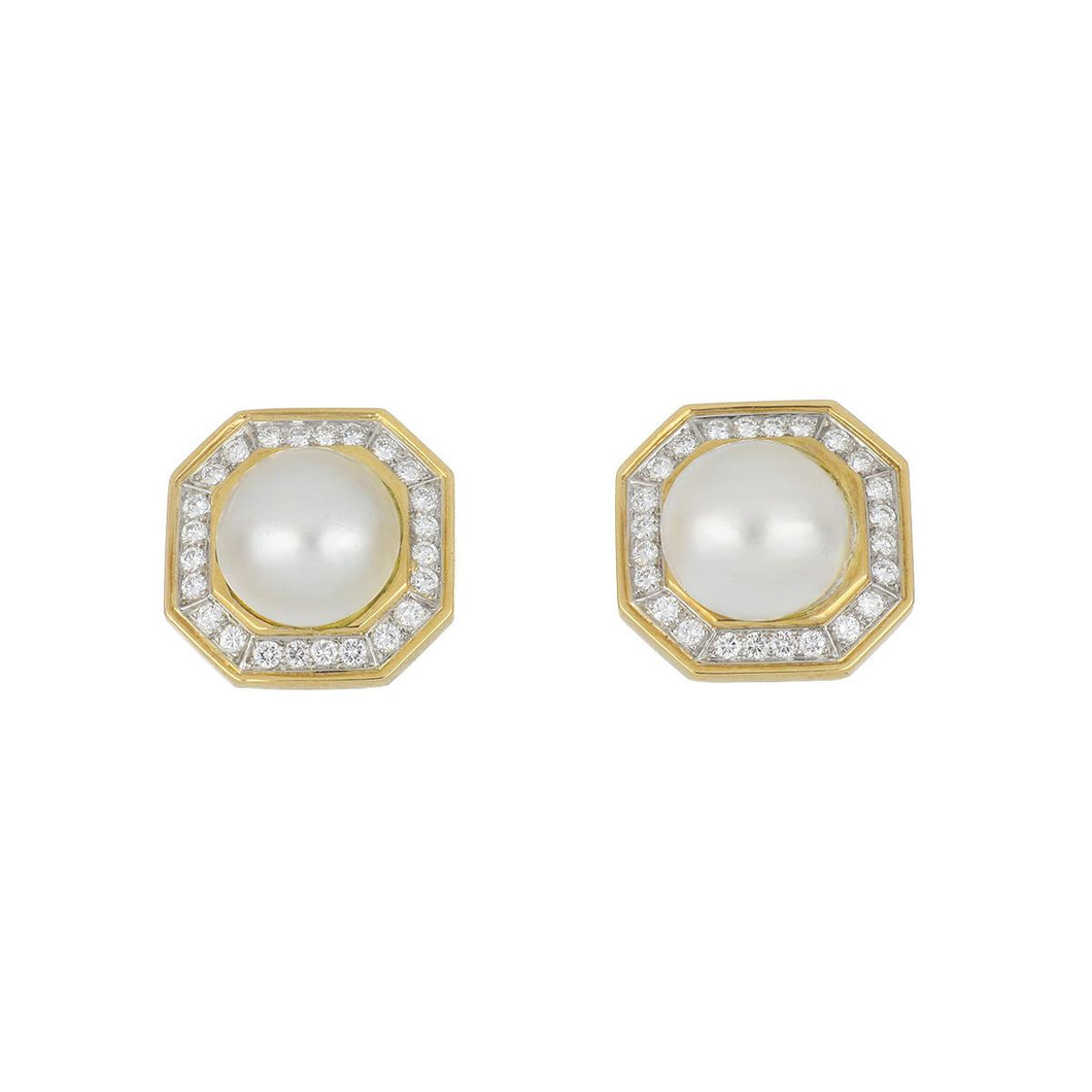 Estate 18K Gold Mabé Pearl Earrings with Diamonds