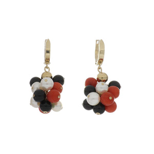 Vintage 1990s 14K Gold Onyx, Coral and Pearl Cluster Drop Earrings