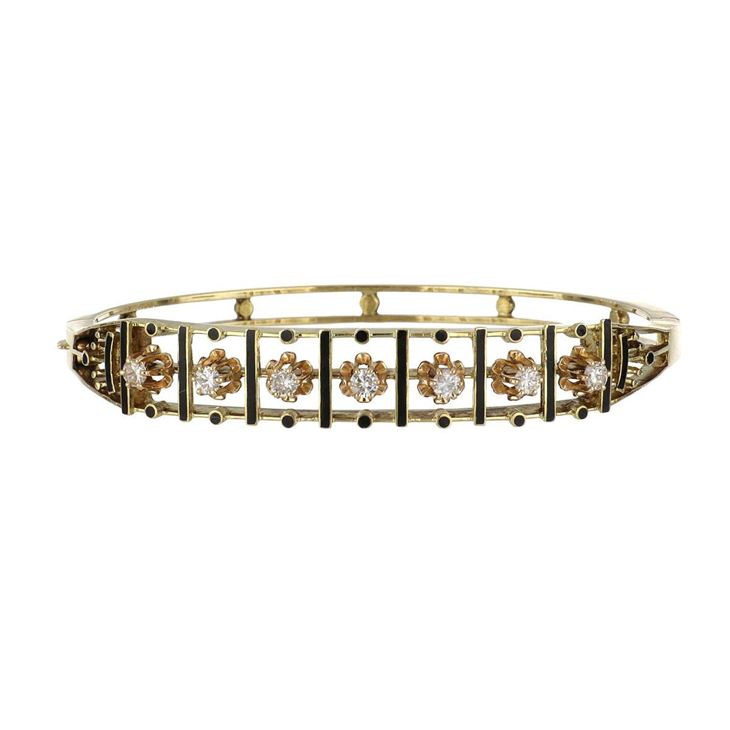 1940s Victorian Revival 14K Gold Openwork Bracelet with Diamonds and Black Enamel Detail