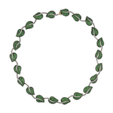 Load image into Gallery viewer, Estate 14K Two-Tone Gold Tsavorite Garnet Leaf Necklace with Diamonds