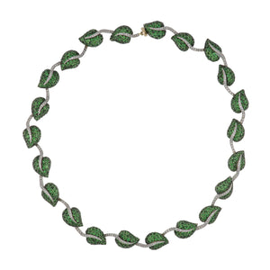 Estate 14K Two-Tone Gold Tsavorite Garnet Leaf Necklace with Diamonds