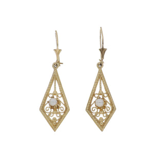 Vintage 1990s 14K Gold Filigree Earrings with Pearls