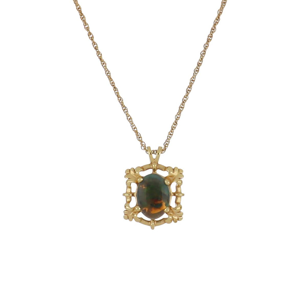 14K Gold Black Opal Pendant Necklace