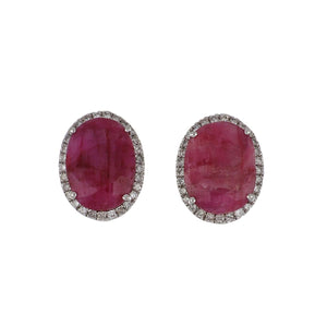 Estate 14K White Gold Oval Ruby Earrings with Diamonds