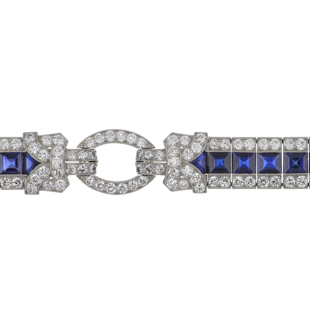 Art Deco Raymond Yard Platinum Calibré-Cut Sapphire and Diamond Bracelet