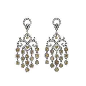 Estate 18K Blackened Gold Fancy-Colored Diamond Chandelier Earrings