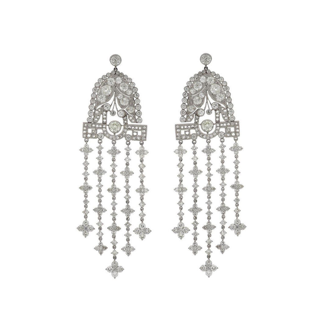 Estate Art Deco-Inspired Platinum Diamond Chandelier Earrings