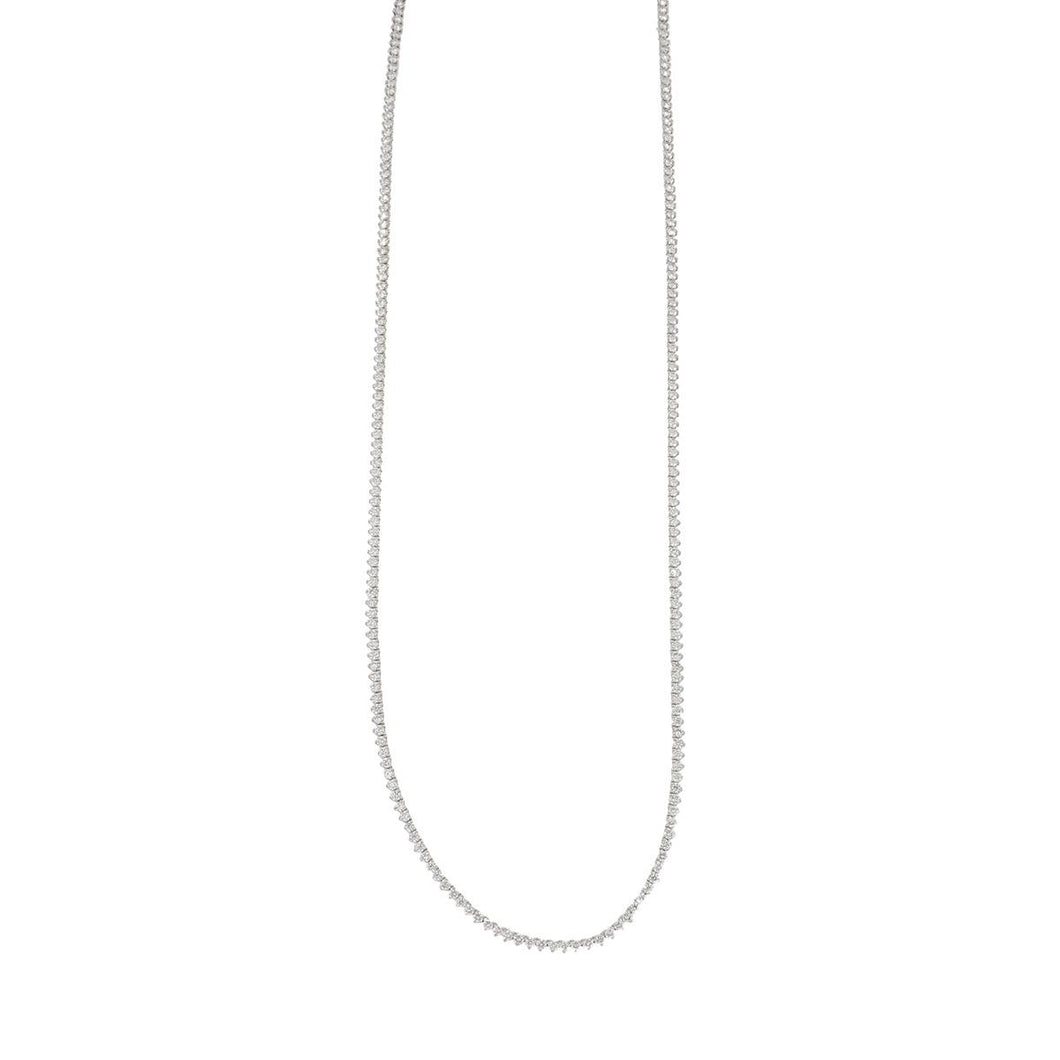 Estate 18K White Gold Diamond Line Necklace