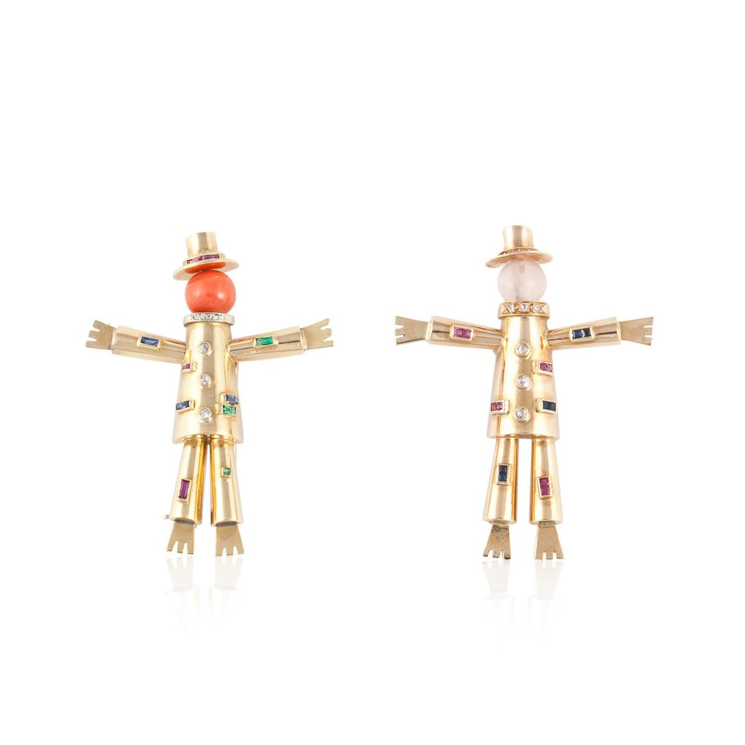 Estate La Cloche 18K Gold Scarecrow Pin Set