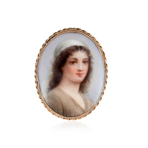 German Edwardian 14K Gold Painted Porcelain Pin Depicting Ruth